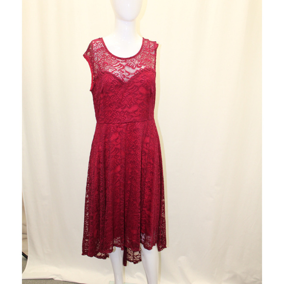 Plus Size Wine Floral Lace High Low Dress Boutique